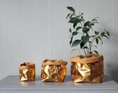 Gold Paper bag, washable paper, rose gold, gold, storage bag, basket, Wedding décor, hamper bag, unique gift, Valentine's Day gift