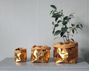 Gold Paper bag, washable paper, rose gold, gold, storage bag, basket, Wedding décor, Christmas gift, shiny, sparkles, laundry bag