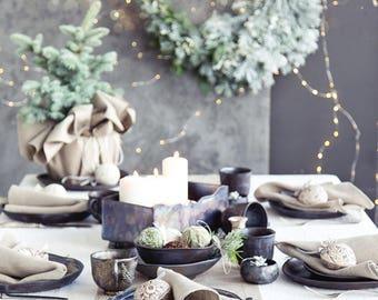 Luxury table runner made of natural linen -  Christmas tablescape - Hemstitch runner