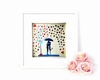 silhouette couple under umbrella rain hearts   wedding silhouette  valentine silhouette frame art   coloured silhouette   silhouette artwork