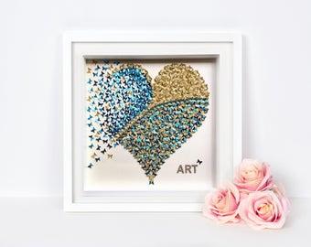 3D butterflies heart , 3D butterfly wall , paper butterflies heart , paper heart frame , butterfly wall art decor, living room kids wall art