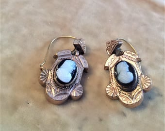 Gold Filled Onyx Cameo Earrings