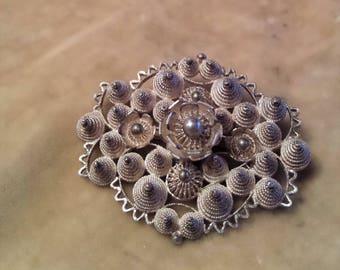 Silver Filigree Spiral Brooch