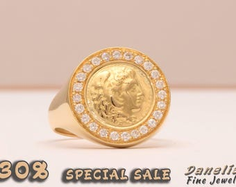 Sovereign Ring, Gold Signet Ring, Man Gold Ring, Alexander The Great, Coin Signet Ring, Chevalier Ring, Gold Coin Ring, Gold Pinky Ring