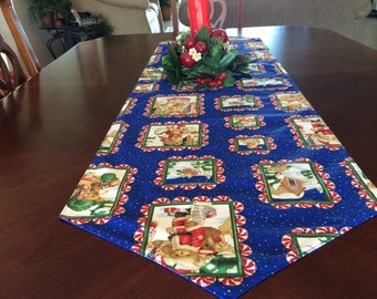 "Christmas Table Runner - Double Sided Table Runner - 54"" Reversible Table Runner - Holiday Runner- Christmas Runner with Bears"