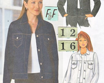 Western Denim Jean Jacket Sewing Pattern/ Butterick 6376 Womens Teens Collared front button, cuff sleeved jacket, shirt UnCut/ Size 12 14 16