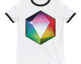 20 Sided Die Rainbow Ringer T-Shirt