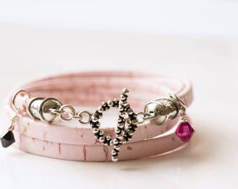 Portuguese leather bracelet, Portuguese cork bracelet, leather wrap bracelet, boho leather bracelet, pink leather bracelet, personalized
