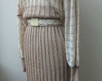 Vintage 1980s Medici deco knit dress in neutrals.  S12