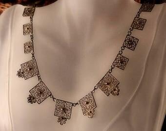 Vintage Silver Filigree Necklace, Lacy Floral Link Panels