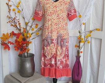 Floral Orange Upcycled T-Shirt Dress