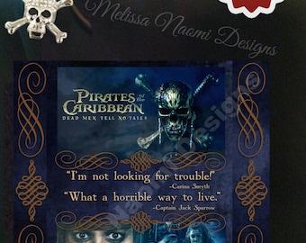 Dead Men Tell No Tales Cotton Tote, Captain Jack Sparrow Tote, Pirates of the Caribbean, Johnny Depp Tote, Bag, Purse, Original Design, Art