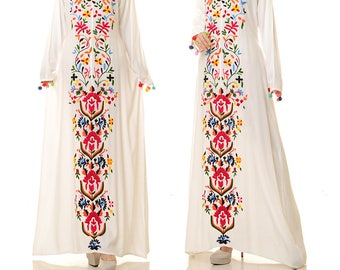 White Embroidered Dress | Embroidered Mexican Dress | Embroidered Kaftan  Dress | Embroidered Maxi Dress |