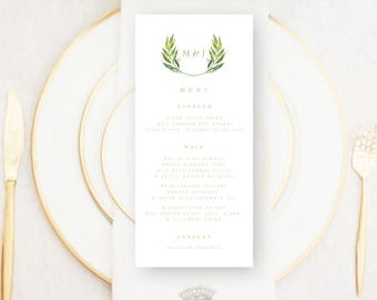 Personalised Printable, Wedding Menu Card, Marcella Collection