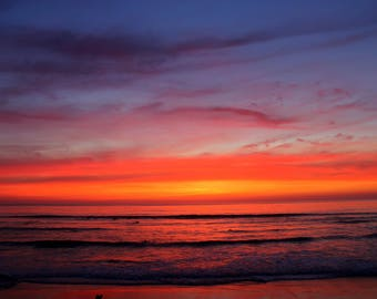 Ocean Sunset Photography | Sunset | Wrapped Canvas Photograph | California Beach Photography | Home Decor | Color Photography |