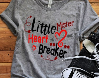 Little Mister Heart Breaker SVG, Valentine's Day Svg, Valentine Svg, Heart, Baby Boy, Love, Toddler, Svg, Dxf, Eps, Png, Cricut, Silhouette
