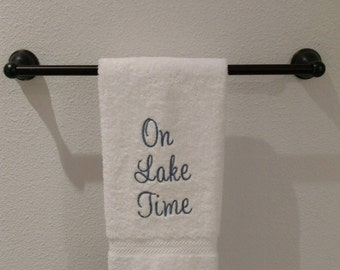 Embroidered White Hand Towel.  On Lake Time (cornflower blue)