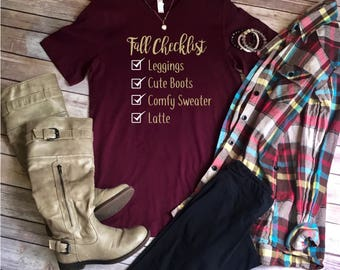 Fall Checklist tee, fall tee