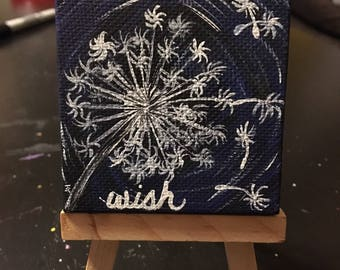 Make A Wish Hand Painted Canvas | Optional Mini Easel Stand