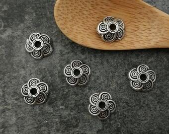 Bead caps, cups flowers, beads, brass, 9 x 3 mm cap tips