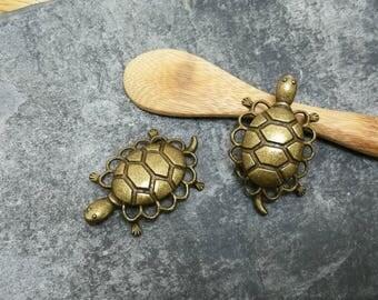 Large turtle antique bronze color bronze, 38 x 23 mm