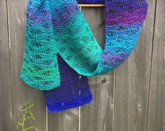Seafoam Stitch Scarf, Handknit Lace Scarf in Blues and Greens