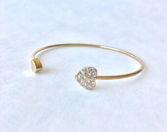 Gold Heart Bracelet, Heart Cuff Bracelet, Crystal Heart Bracelet, Gold Wrap Bracelet, Delicate Bracelet, Heart Cuff, Love Cuff, Hearts Cuff