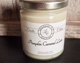Organic Soy Candle-Pumpkin Caramel Latte-Vegan Candle- Fall & Holiday Candle- Scented Candle, Eco-Friendly-White Candle