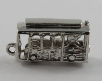 San Francisco Cable Car Mechanical Sterling Silver Vintage Charm For Bracelet