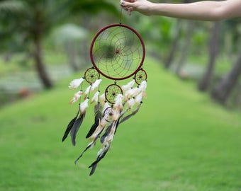 Dream Catcher Large Red Brown Boho Handmade Wall Decor Wall Hanging Home Decor Ornament Feathers 5 Ring Circle 25 inches