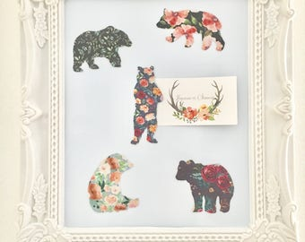 Pet magnet bear bear animal vintage fabric magnet set