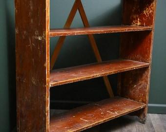 Antique Vintage Primitive Industrial Wooden Shoe Rack Clothing Book Rack 4 tier Wood Shelf Shelving Storage Rustic Farmhouse Decor Brown Old