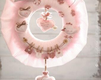 Baby Hospital Door Hanger Girl /FREE FedEx SHIPPING/ Baby Wreath, Personalized Baby Gift,Baby Girl Nursery Decor,Baby Girl Shower Decoration