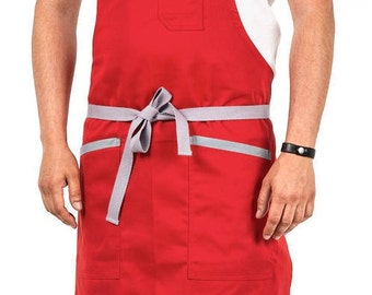 red & grey chef apron