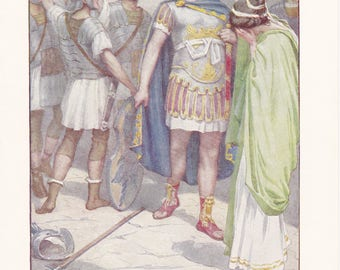 The cloak of her betrothed - Vintage Book Plate from The Story of Rome, 1912