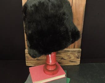 Vintage Black Fur Muff - Woman's Black Hand Muff - Costumer Prop Women's Clothing Accessory Early Mid Century