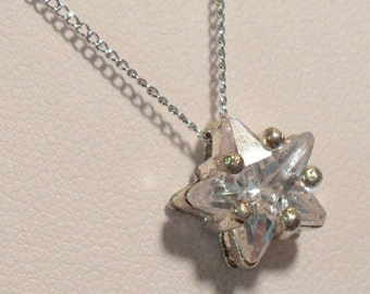 Sparkling Star CZ Necklace- 18 inch  silvertone chain
