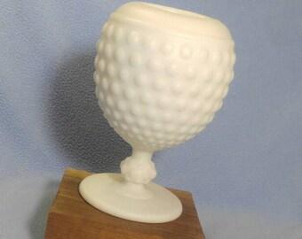 "Imperial Glass Satin Milk Glass Hobnail Ivy Ball Vase 6"" tall"