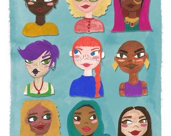 Girls Girls Girls! - Gouache Print