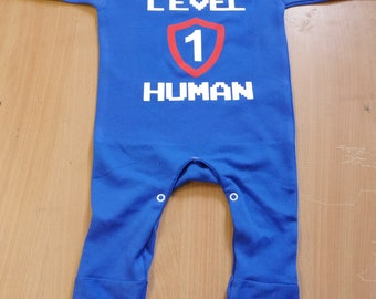 Level 1 Human Baby Rompersuit / Playsuit - Gamer Baby