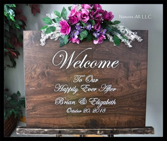 Wedding Sign-Welcome To Our Happily Ever After/Custom Welcome Sign AND Large Floor Easel/Rustic Wood Wedding Sign/Wedding Reception Sign
