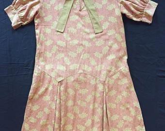 1920s printed cotton drop waist dress
