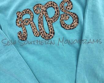 Cheetah appliqued comfort color sweatshirt