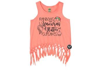 Rainbows Unicorns Glitter and Cupcakes - Rainbows and Unicorns - Girls' Birthday Shirts - Unicorn Birthday Shirt - Girls' Tank Tops