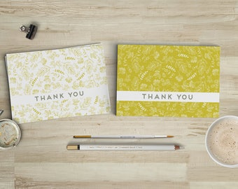 Printable Thank You Cards // Instant Download Greeting Cards // Set of 2 Mustard Yellow Floral Notecards