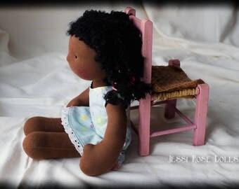 Waldorf doll, brown skin, weighted, black curly hair, African-American, all-natural cloth doll, micro-braid hair