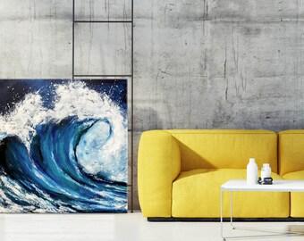 Ocean Painting, Abstract Waves, Seascape Palette knife, Beach art, Acrylic painting, Coastal art, Tropical Modern wall art, Nikki Chauhan.