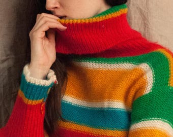Brightly Colored Wool Turtleneck Sweater