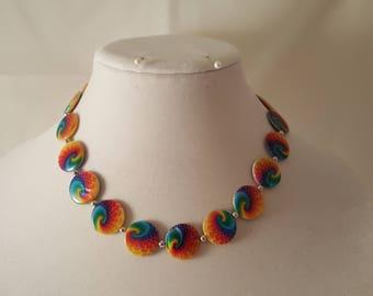 Tye Dye Necklace - Rainbow Necklace - Glass Bead Necklace - Beaded Necklace - Colorful Necklace - Rainbow - Tye Dye - Swirl Necklace - Color