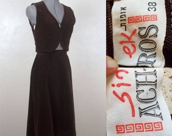 Vintage 1970s Israeli Designer Sin-Ek ACH-ROS 2-Piece Vest and Skirt, Size 38, Chocolate Brown Velvet, Open Crop Vest, High Waisted Skirt